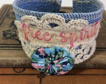Denim Lace Cuff, Boho Chic, Free Spirit, Fabric Cuff, Fabric Bracelet, Up cycled Denim Lace, Textile Cuff, Fiber Art, Fabric Textile Jewelry