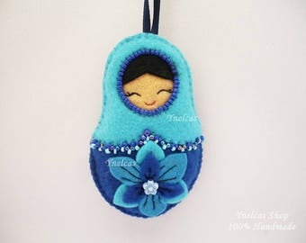 Matryoshka Felt ornament doll  in shades of blue babushka russian doll Christmas ornament  with beads