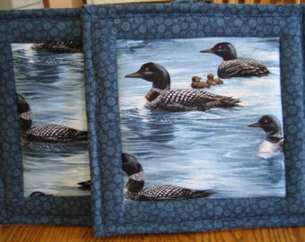 Quilted Pot Holders in a Loon Pattern - Set of 2