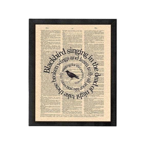 The Beatles Blackbird Song Lyric Art Print, Blackbird Song Art, Beatles Wall Art, Vintage Dictionary Art, Book Page Art, Spiral Word Art