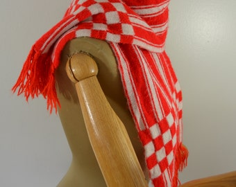 Red and White Striped Scarf Nice Soft and Warm with Red Checks