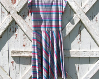 1980s stripe dress S M
