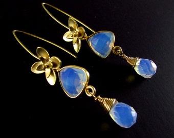 Opalite Dangle Gold Earrings