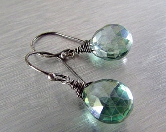 25OFF Mystic Green Quartz With Oxidized Sterling Silver Earrings