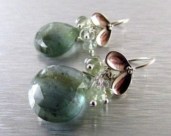 25% Off Moss Aquamarine and Sterling Silver Cluster Earrings