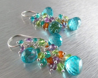 25% Off Turquoise Blue Quartz With Peridot, Amethyst, Orange Garnet and Teal Quartz Long earrings