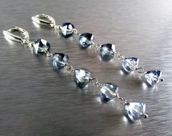 Grey Mystic Quartz Trillion Cut Sterling Silver Earrings