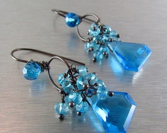 25 % OFF Turquoise Blue Quartz Wire Wrapped Oxidized Silver Earrings