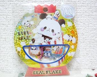 Kamio Japan Sticker Flakes - Mochi Mochi Panda - 50 Pieces (46543)