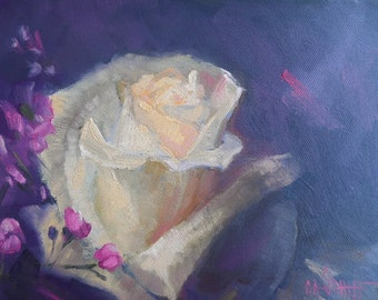 "White Rose Painting, 8x10"" Flower Painting, Floral Still Life, Flower Oil Painting,"