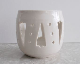 wheel thrown votive, vintage handmade pottery by Marny Pugh, white porcelain clay, holiday candleholder, small hand made ceramics vessel