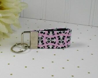 Mini Key Fob, Fabric Key Fob, ..Mini Panda in Pink