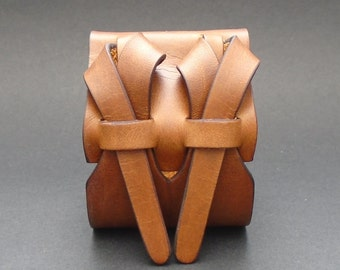 Double Cuff in Dark Camel by Muse 2 inches / FREE SHIPPING