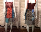 Reserved for Erin***DeviDesigns Tribal Upcycled T-shirt Sun Dress w Indian insired Batik S M as a skirt or strapless cover up boho chic junk