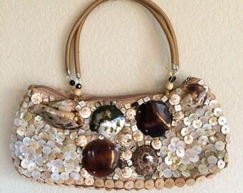Capiz Shell Purse, Button Handbag, Vintage Shell Bag