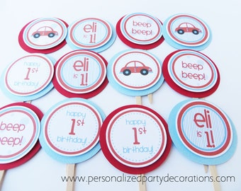 Car Birthday party, Red Car Cupcake Toppers, Birthday Party Decorations, Vehicle Birthday Party, Boy 1st Birthday, Choose Personalization