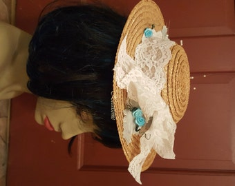Victorian Hat Antebellum Civil War straw blue flowers Easter bonnet OOAK Adult youth small