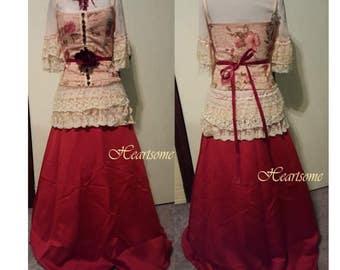 Victorian Edwardian style gown dress OOAK ensemble womens corset lace wine nude