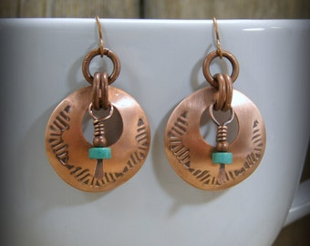 Turquoise Earrings - Metal Smith Native American Hand Stamped Bohemian Hoop Earrings