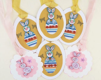 Sale  Easter Tags,Paper Quilling Tags, Easter Gift Hang, Pink Rabbit tags,  Paper Quilled Egg, Bunny Rabbit Blue, Last Ones, Australia