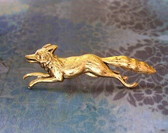 Run Fox Run - Antiqued Gold Plated Fox Brooch, Lapel Pin or Tie Pin - Gift Box