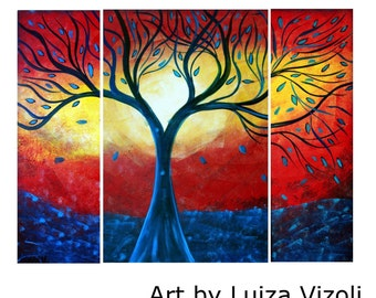 Original Oil Painting Large Abstract BLUE Rain RED Sunset Water and Fire Art by Luiza Vizoli