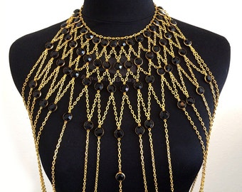 Black Crystal & Gold Collar Body Harness - Kali: Gold Chain and Dark Crystal Body Jewelry