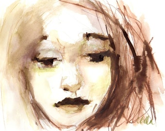 Original Ink Painting, Portrait Art, Wall Decor, Female Face Watercolor Painting, Brown and White, Sketch Book Series, Free Shipping