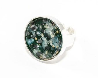 Splatter Painted Adjustable Ring - Acrylic in Round Silver Ring - Emerald Isle Colorway: Dark Green, Gray, Teal, Gold