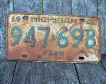 Michigan Farm License Plate 1962