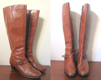 Vintage 70s Tanned Brown Leather Knee High Boots with Buckle Detail Size 7.5W