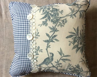 Shabby Chic pillow, Bird Toile Linen  fabric pillow with Blue check and Vintage Buttons.