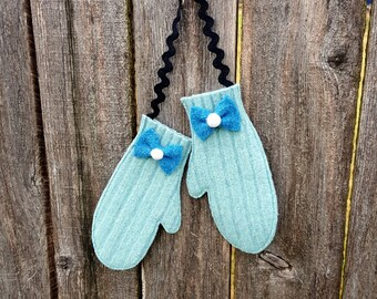 Rescued Wool Mitten Ornaments -Matching Pair - recycled wool by alicia todd - great for Secret Santa