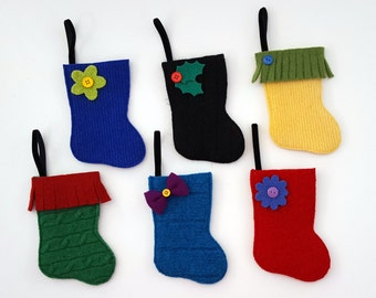 Rescued Wool Stocking Ornaments - Set of Six Jewel Tones  - recycled wool by alicia todd