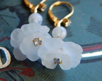 Delicate Earrings Flower Earrings Bridal Earrings Frosted Lucite Lily Drop Earrings Crystal Bridesmaid Earrings