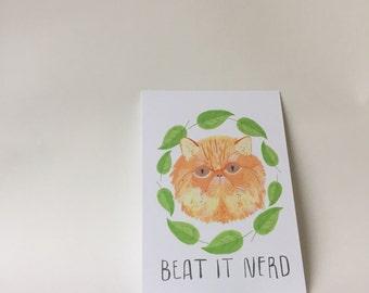 Beat it Nerd Postcard