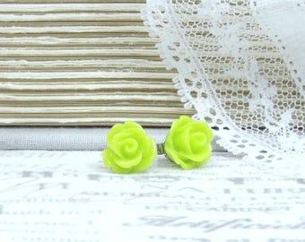 Lime Green Earrings Rose Stud Earrings Green Floral Earrings Green Rose Studs Green Flower Earrings