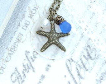 Starfish Charm Necklace Shell Necklace Starfish Jewelry Ocean Charm Necklace Starfish Gift
