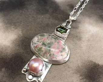 Disir silver cellular totem pendant with lapis nevada, pink freshwater pearl and green tourmaline, a dramatic, one of a kind statement piece