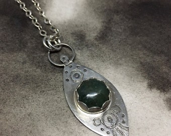 Freyja sterling silver etched spear pendant with deep forest green moss agate