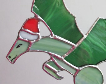 Green Dragon in Santa Hat Stained Glass Suncatcher or Christmas Holidays Ornament