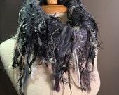 Hand Knit Shag Cowl, Steel Blues, Art Yarn Fringed Knit Large multicolor steel blue grey, black, silver, knit cowl, women accessories, funky