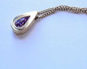 February Birthstone Necklace Purple Faux Amethyst Signed Avon Vintage