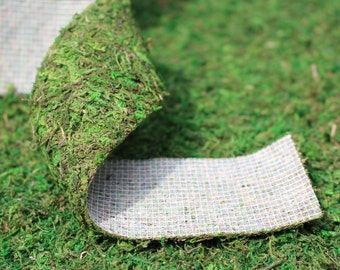 "Moss Ribbon-Moss Roll 2.5"" x 36"" per roll -Preserved moss no water needed."