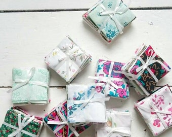 Christmas in July Vintage Fabric Bundles of Joy - Mini Collection of 8 fabrics for Christmas Winter Holiday Craft Projects Stocking Filler