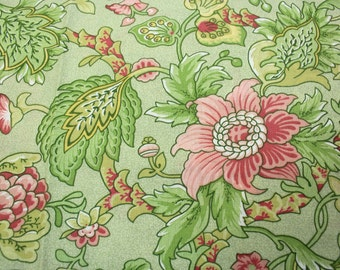 Green Floral Cotton Fabric Yardage, 1 1/2 yards Large Pink and Green Flower Fabric by Fons and Porter, Benartex, Quiltsy Destash