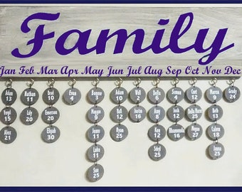 Ant. White Family Birthday Sign/Purple Lettering