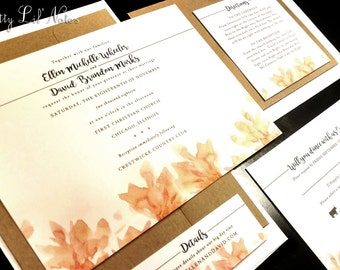 Fall Tree Leaves Leaf Custom Unique Wedding Invitation Oak Outdoor Maple Summer Fall Autumn Nature Kraft Orange Navy Yellow Gold Red Photo