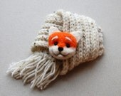 Red Fox Brooch,  needle felted miniature, 2 x 1,5  inches, red, orange, white,   handmade