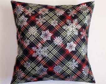 SUMMER SALE - Handmade WINTER Throw Pillow Cover, Silver Snowflakes on Black Plaid Cushion Cover, Elegant Christmas Accent Pillow Cover